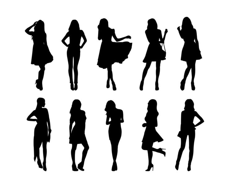 https://www.freevector.com/set-of-woman-silhouettes-vector-19095