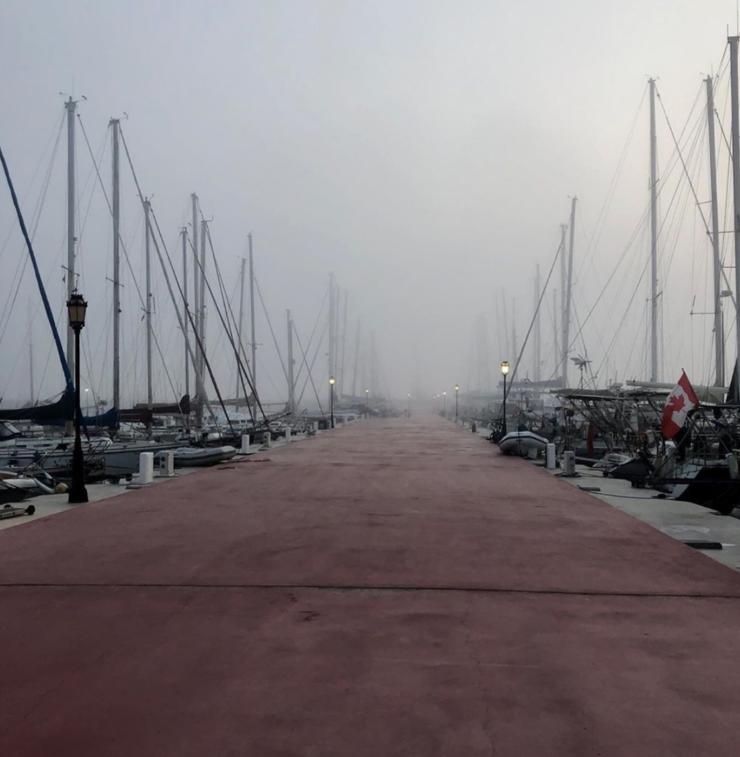 Nebel auf dem Pontoon