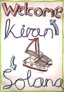 Willkommenskarte für Kiran und Solana